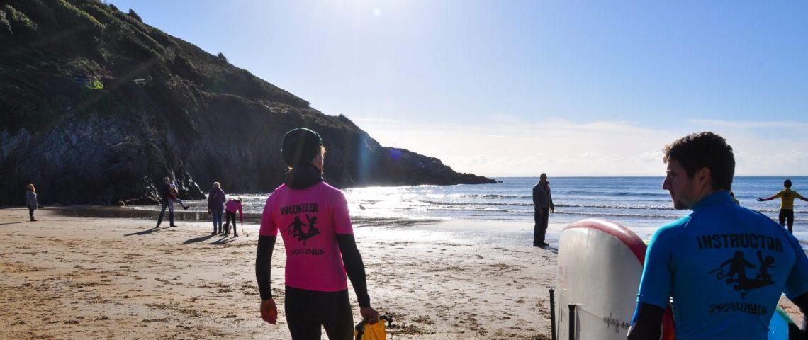 The Surfability Team walking towards the sea